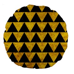 Triangle2 Black Marble & Yellow Marble Large 18  Premium Round Cushion  by trendistuff