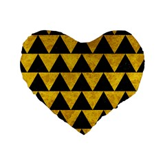 Triangle2 Black Marble & Yellow Marble Standard 16  Premium Heart Shape Cushion  by trendistuff