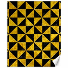 Triangle1 Black Marble & Yellow Marble Canvas 11  X 14  by trendistuff