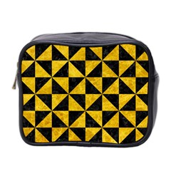 Triangle1 Black Marble & Yellow Marble Mini Toiletries Bag (two Sides) by trendistuff