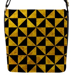 Triangle1 Black Marble & Yellow Marble Flap Closure Messenger Bag (s) by trendistuff
