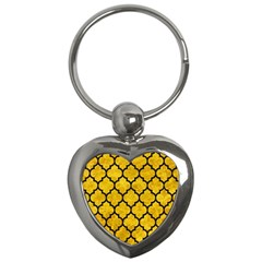 Tile1 Black Marble & Yellow Marble (r) Key Chain (heart) by trendistuff