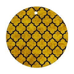 Tile1 Black Marble & Yellow Marble (r) Round Ornament (two Sides) by trendistuff