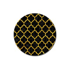 Tile1 Black Marble & Yellow Marble Magnet 3  (round) by trendistuff