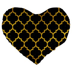 Tile1 Black Marble & Yellow Marble Large 19  Premium Flano Heart Shape Cushion by trendistuff