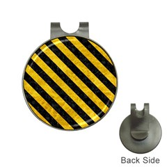 Stripes3 Black Marble & Yellow Marble (r) Golf Ball Marker Hat Clip