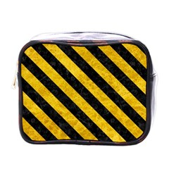 Stripes3 Black Marble & Yellow Marble (r) Mini Toiletries Bag (one Side) by trendistuff