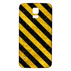 Stripes3 Black Marble & Yellow Marble (r) Samsung Galaxy S5 Back Case (white) by trendistuff
