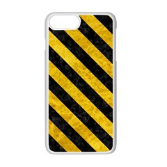 Stripes3 Black Marble & Yellow Marble (r) Apple Iphone 7 Plus White Seamless Case by trendistuff