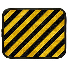 Stripes3 Black Marble & Yellow Marble Netbook Case (large) by trendistuff