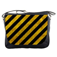 Stripes3 Black Marble & Yellow Marble Messenger Bag by trendistuff
