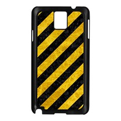 Stripes3 Black Marble & Yellow Marble Samsung Galaxy Note 3 N9005 Case (black) by trendistuff