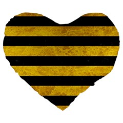 Stripes2 Black Marble & Yellow Marble Large 19  Premium Heart Shape Cushion by trendistuff