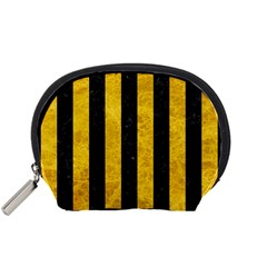 Stripes1 Black Marble & Yellow Marble Accessory Pouch (small) by trendistuff