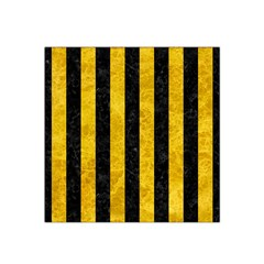 Stripes1 Black Marble & Yellow Marble Satin Bandana Scarf by trendistuff
