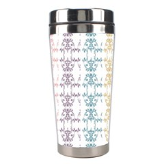 Digital Print Scrapbook Flower Leaf Color Green Red Purple Yellow Blue Pink Black Stainless Steel Travel Tumblers by AnjaniArt