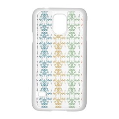 Digital Print Scrapbook Flower Leaf Color Green Red Purple Yellow Blue Pink Black Samsung Galaxy S5 Case (white)