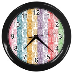 Digital Print Scrapbook Flower Leaf Color Green Red Purple Yellow Blue Pink Wall Clocks (black) by AnjaniArt