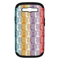 Digital Print Scrapbook Flower Leaf Color Green Red Purple Yellow Blue Pink Samsung Galaxy S Iii Hardshell Case (pc+silicone) by AnjaniArt