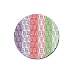 Digital Print Scrapbook Flower Leaf Color Green Red Purple Blue Pink Rubber Coaster (round)