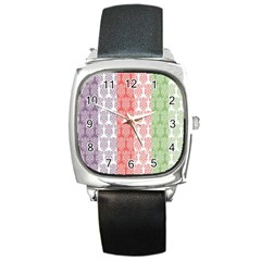 Digital Print Scrapbook Flower Leaf Color Green Red Purple Blue Pink Square Metal Watch by AnjaniArt