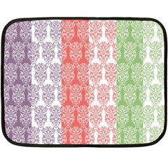 Digital Print Scrapbook Flower Leaf Color Green Red Purple Blue Pink Fleece Blanket (mini)