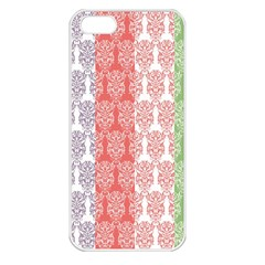 Digital Print Scrapbook Flower Leaf Color Green Red Purple Blue Pink Apple Iphone 5 Seamless Case (white)