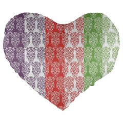 Digital Print Scrapbook Flower Leaf Color Green Red Purple Blue Pink Large 19  Premium Flano Heart Shape Cushions