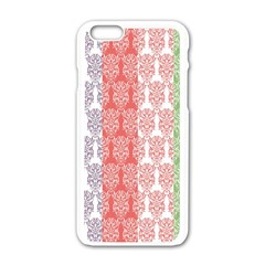 Digital Print Scrapbook Flower Leaf Color Green Red Purple Blue Pink Apple Iphone 6/6s White Enamel Case by AnjaniArt