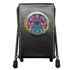 Colorful Peacock Line Pen Holder Desk Clocks by AnjaniArt