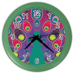 Colorful Peacock Line Color Wall Clocks by AnjaniArt