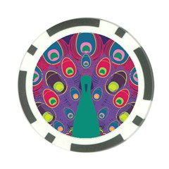 Colorful Peacock Line Poker Chip Card Guard