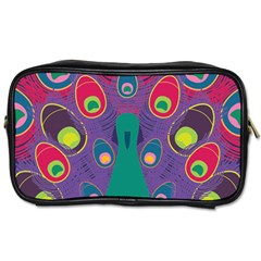Colorful Peacock Line Toiletries Bags 2 Side by AnjaniArt