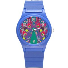 Colorful Peacock Line Round Plastic Sport Watch (s) by AnjaniArt