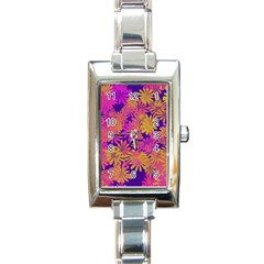 Floral Pattern Purple Rose Rectangle Italian Charm Watch