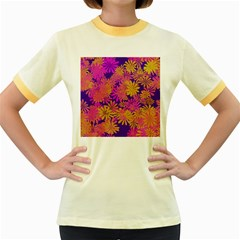 Floral Pattern Purple Rose Women s Fitted Ringer T Shirts