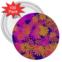 Floral Pattern Purple Rose 3  Buttons (100 Pack)