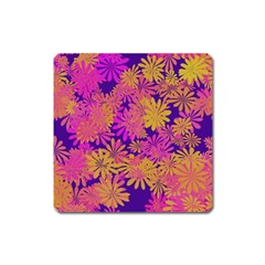 Floral Pattern Purple Rose Square Magnet