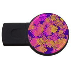 Floral Pattern Purple Rose Usb Flash Drive Round (4 Gb) by AnjaniArt