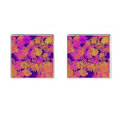 Floral Pattern Purple Rose Cufflinks (square) by AnjaniArt
