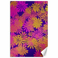 Floral Pattern Purple Rose Canvas 24  X 36  by AnjaniArt