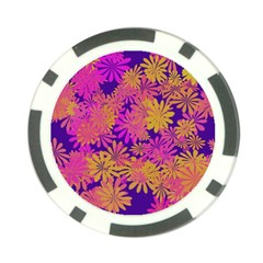 Floral Pattern Purple Rose Poker Chip Card Guard