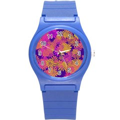 Floral Pattern Purple Rose Round Plastic Sport Watch (s) by AnjaniArt