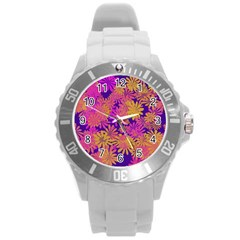 Floral Pattern Purple Rose Round Plastic Sport Watch (l) by AnjaniArt