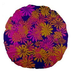 Floral Pattern Purple Rose Large 18  Premium Round Cushions