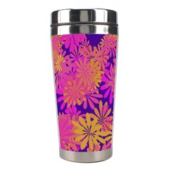 Floral Pattern Purple Rose Stainless Steel Travel Tumblers by AnjaniArt