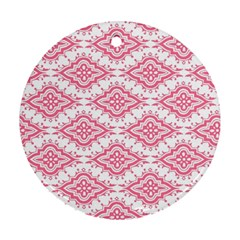 Flower Floral Pink Leafe Round Ornament (two Sides) by AnjaniArt