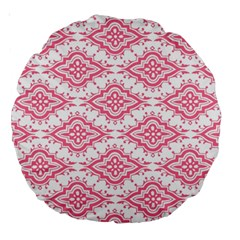 Flower Floral Pink Leafe Large 18  Premium Round Cushions