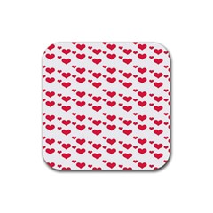 Heart Love Pink Valentine Day Rubber Square Coaster (4 Pack)  by AnjaniArt