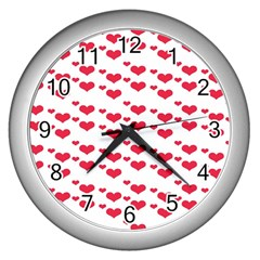 Heart Love Pink Valentine Day Wall Clocks (silver)  by AnjaniArt